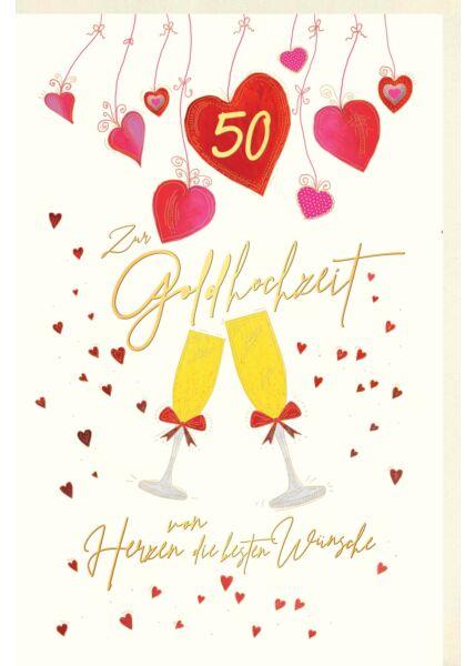 Karte Geburtstag Sektgläser mit Schleifen, kleine Herzen, Herzen hängen von oben herab, Naturkarton, mit Goldfolie und Blindprägung