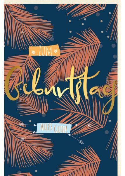 Geburtstagskarte Blätter Illustration gold