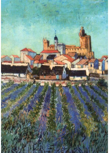 Kunstkarte Vincent van Gogh - Blick auf Saintes-Maries