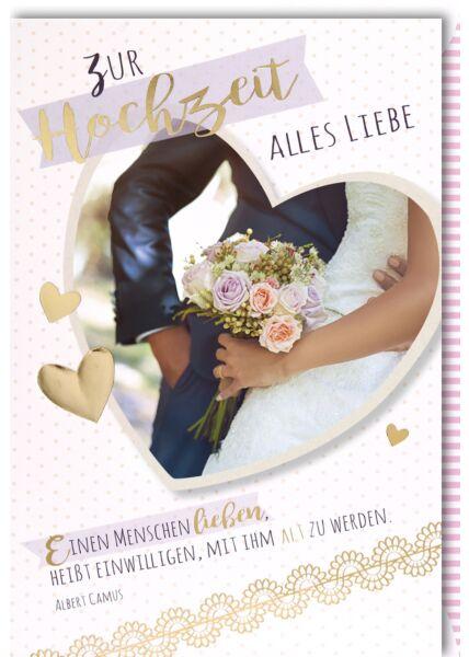 Glückwunschkarte Hochzeit Foto in Herz