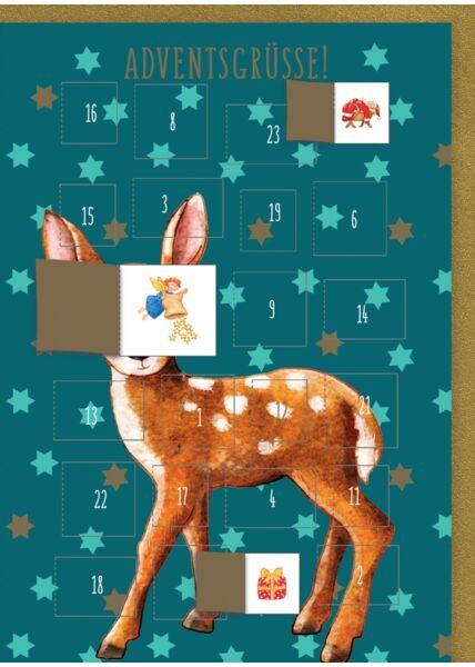 Weihnachtskarte mit 24 Türchen zum Öffnen. Hirsch