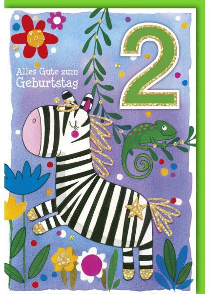 Geburtstagskarte für Kinder 2 Jahre Zebra mit Chamäleon
