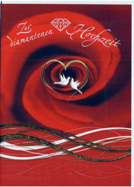Glückwunschkarte zur diamantenen Hochzeit. Tauben