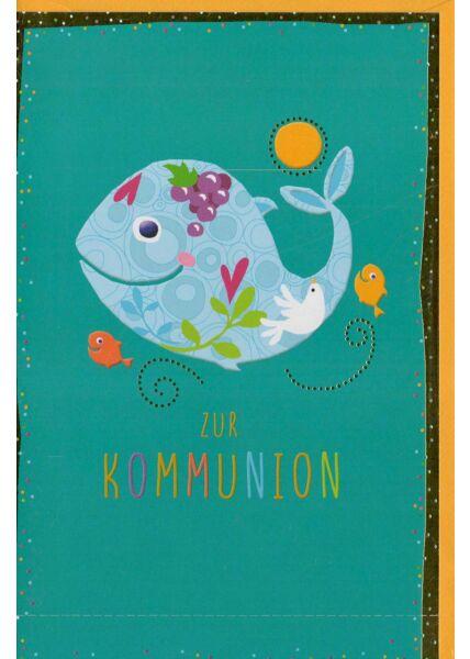 Glückwunschkarte Kommunion liebevoll Fisch