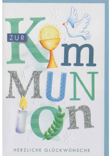 Glückwunschkarte Kommunion mit Taube und Kerze