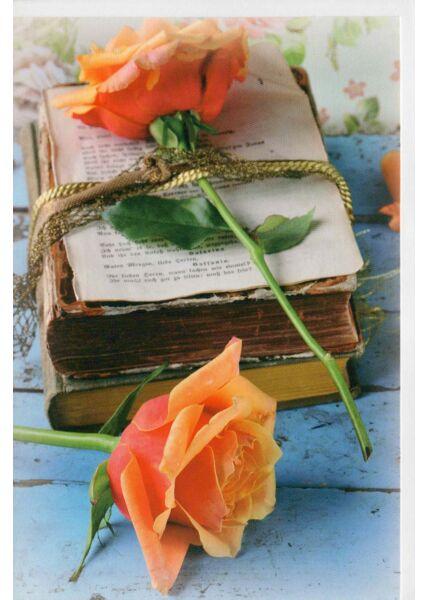Grußkarte ohne Text alte Bücher und Rosen