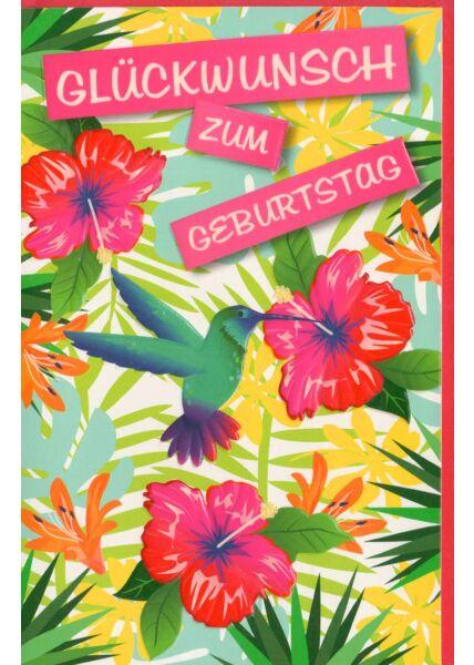 Geburtstagskarte Vögel Blumen bunt