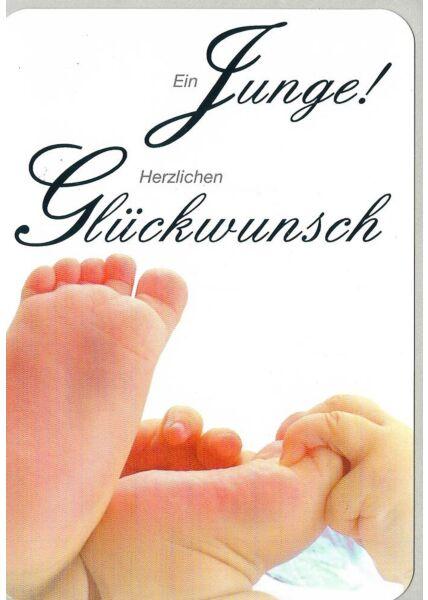 Glückwunschkarte Geburt Jungen Füße hochwertig
