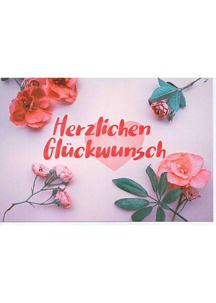 Glückwunschkarte Herzlichen Glückwunsch vier Blumen