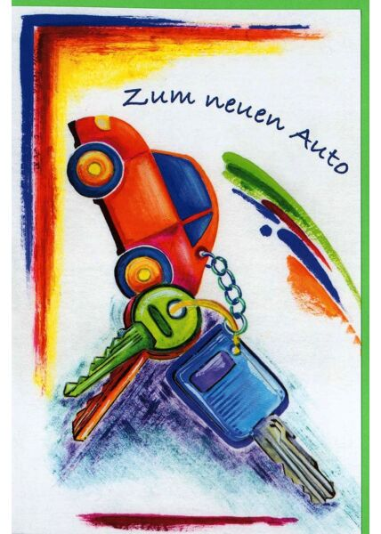 Glückwunschkarte zum neuen Auto Schlüssel