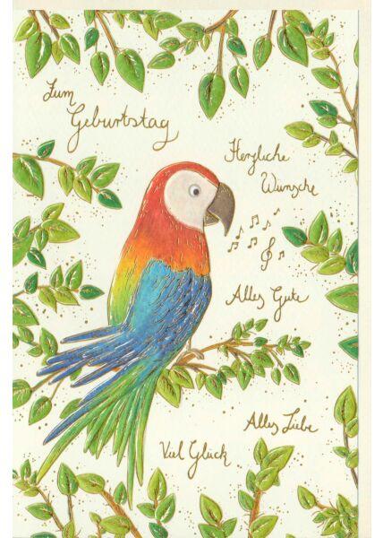 Karte Geburtstag Papagei, Naturkarton, mit Goldfolie und Blindprägung