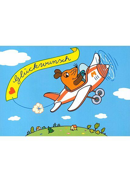 Maus-Postkarte Flugzeug Herzlichen Glückwunsch