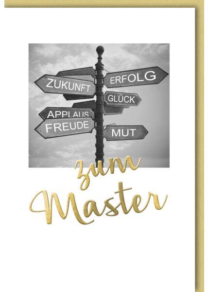 Glückwunschkarte zum Master Wegweiser, Glück, Erfolg