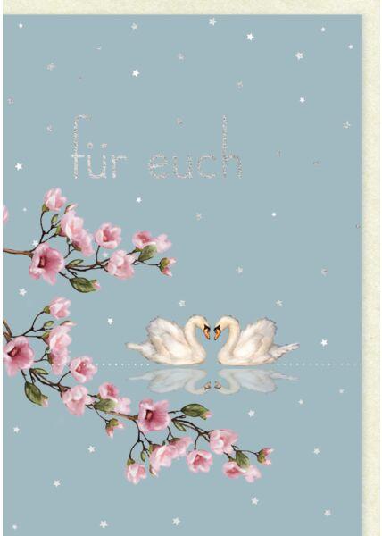 Glückwunschkarte Hochzeit 2 Schwäne und Magnolienblüten