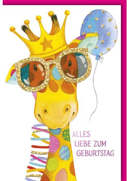 Geburtstagskarte für Kinder Giraffe Brille zum Geburtstag