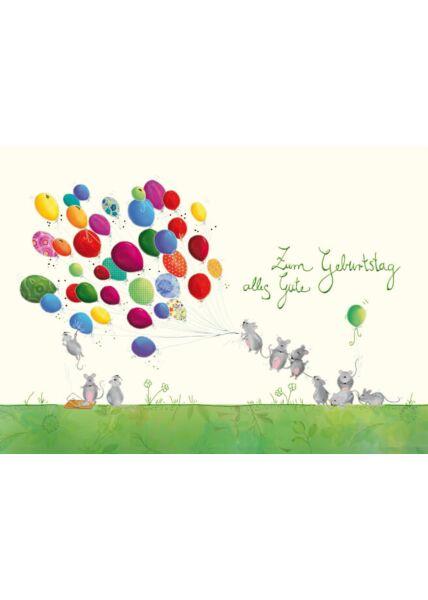 Geburtstag Postkarte Mäuse Luftballons