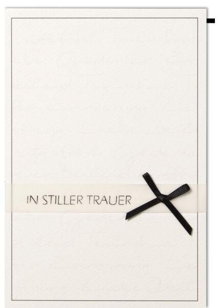 Trauerkarte In stiller Trauer schwarze Schleife