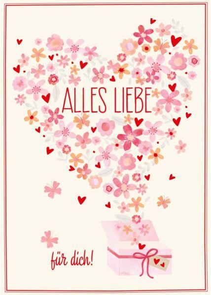 Postkarte Valentinstag Alles Liebe zum Valentinstag