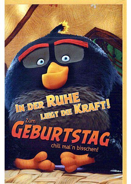 """Kindergeburtstagskarte Angry Birds """"in der Ruhe liegt die Kraft"""""""