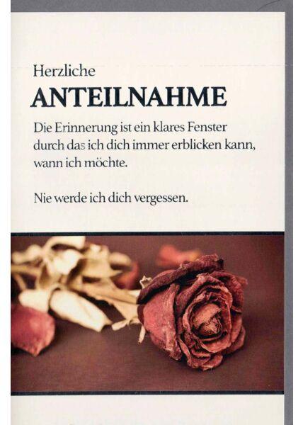 Trauerkarte: Nie werde ich dich vergessen