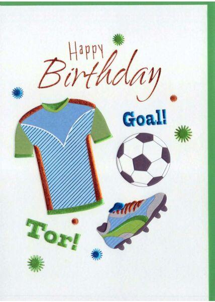 Geburtstagskarte Junge: Happy Birthday Fußball