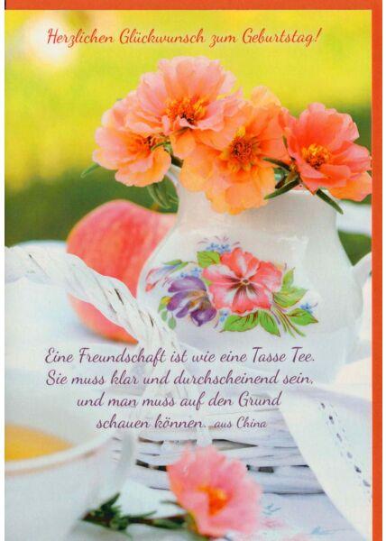 Karte Geburtstag Blumenvase Tisch
