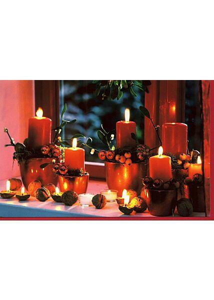 Karte Weihnachten Kerzen Fensterbank