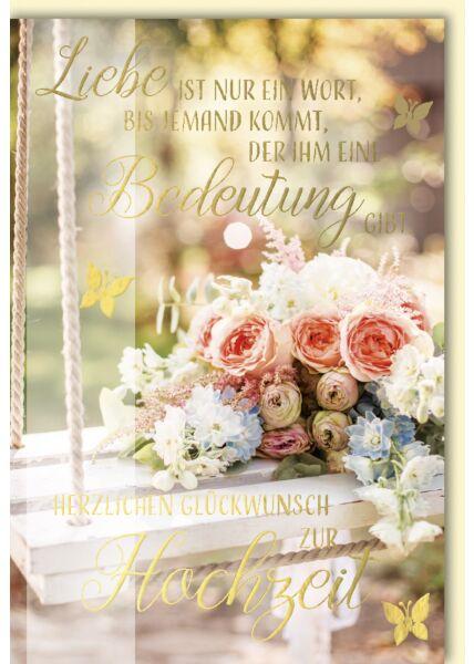 Hochzeitskarte Goldfolie Bunter Blumenstrauß auf Schaukel