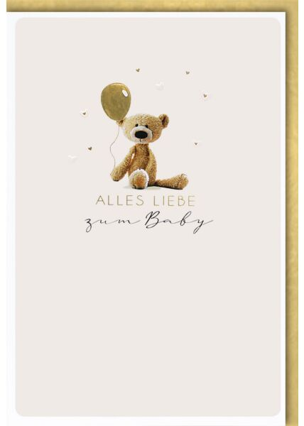 Glückwunschkarte Geburt Baby - Teddy mit goldenem Luftballon