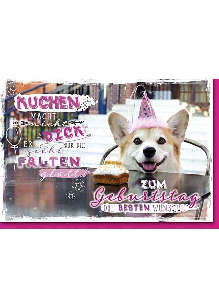 Geburtstagskarte mit Spruch Hund mit Hütchen