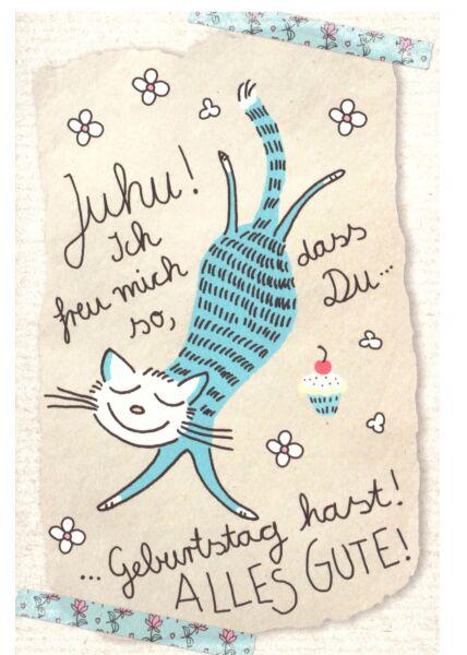 Karte Geburtstag Katze Juju Ich freu mich so