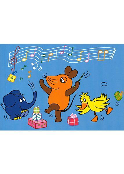 Maus-Postkarte Geburtstagsparty blau