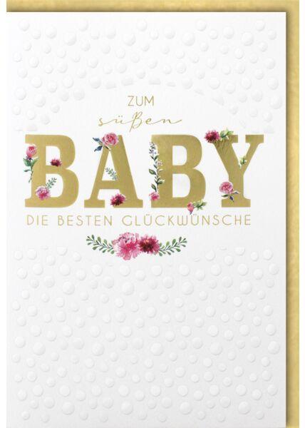 Glückwunschkarte zur Geburt rosa Blumenranken