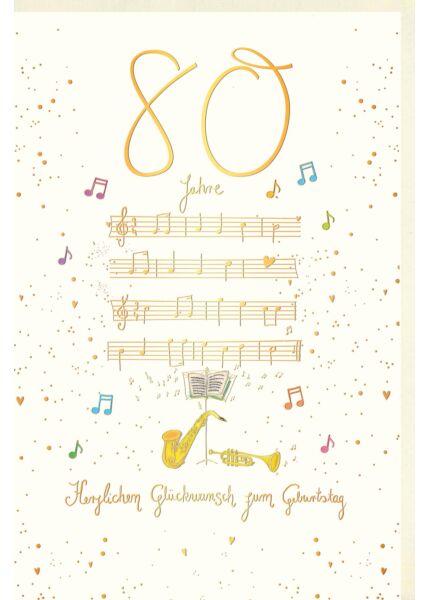 Geburtstagskarte 80 Jahre Strophen Musik Herzlichen Glückwunsch