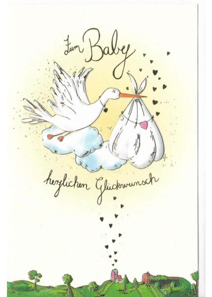 Glückwunschkarte Geburt Baby hochwertig Storch