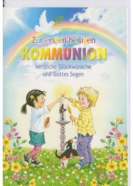 Kommunionskarte mit Kindern, Hund und Kerze
