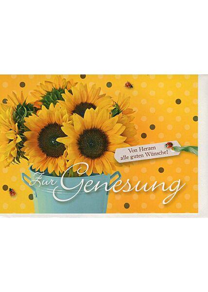 Genesungskarte mit Sonnenblumen gelb
