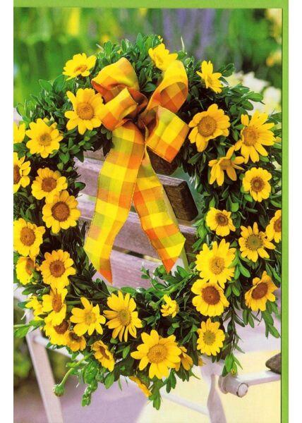 Grußkarte Blumenkranz gelb Stuhl Sommer