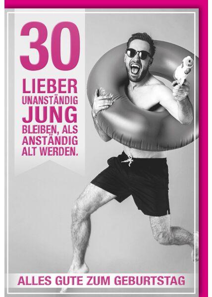 30. Geburtstagskarte lustig Mann mit Schwimmreifen