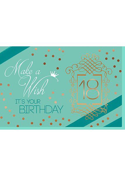 Geburtstagskarte 18 Mann Make a Wish It´s your Birthday 18