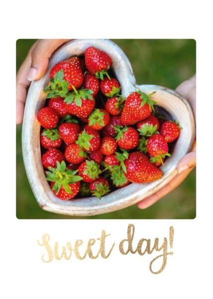Postkarte Spruch Erdbeeren Sweet Day