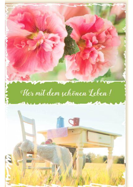 Grußkarten Spruch Her mit dem schönen Leben