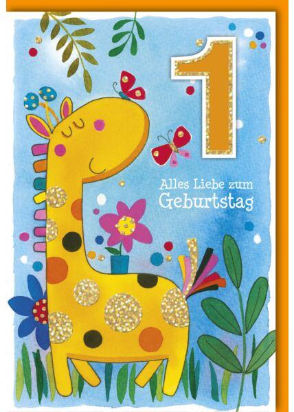 Geburtstagskarte für Kinder 1 Jahr Giraffe mit Schmetterlinge