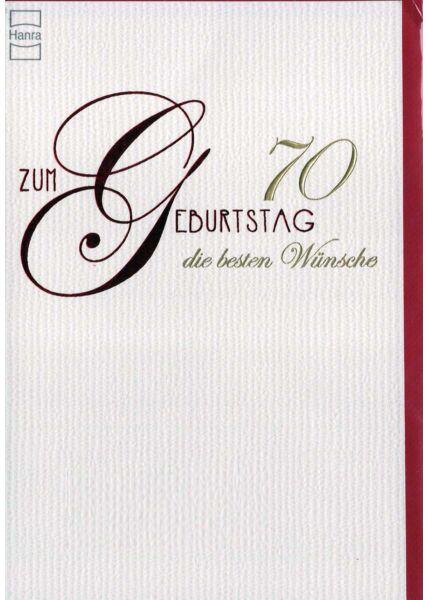 Geburtstagskarte 70. Geburtstag: Karte mit Prägung
