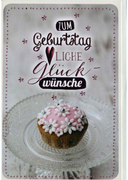 Geburtstagskarte: Cupcake auf Glasteller