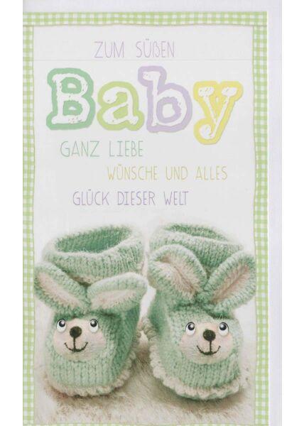 Glückwunschkarte Baby: Schuhe mit Gesicht