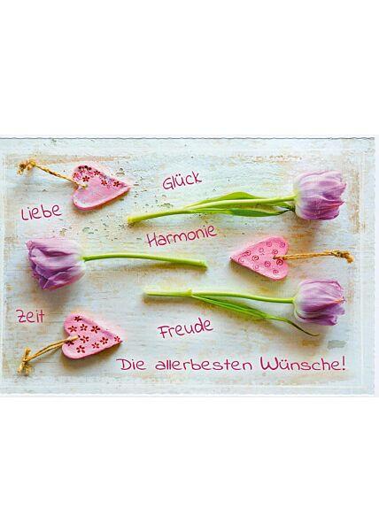 Grußkarte Wünsche Liebe Glück Harmonie