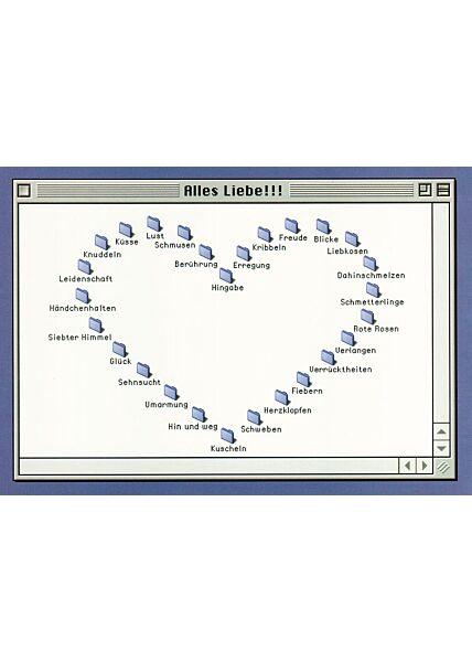 Postkarte Herz Computer Alles Liebe!
