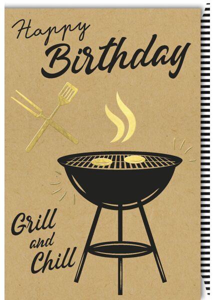 """Geburtstagskarte Männer Kraftpapier Spruch """"Grill and Chill"""""""