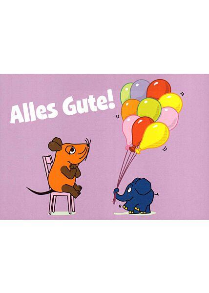 Maus-Postkarte Alles Gute!